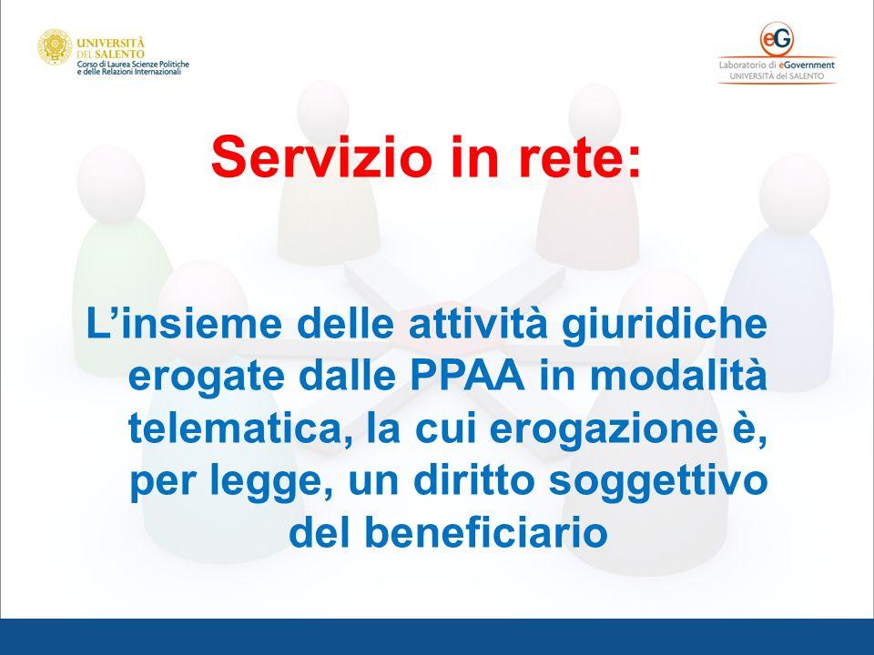 Servizio in rete: Linsieme delle attività giuridiche erogate dalle PPAA in modalità telematica, la cui erogazione è, per legge, un diritto soggettivo