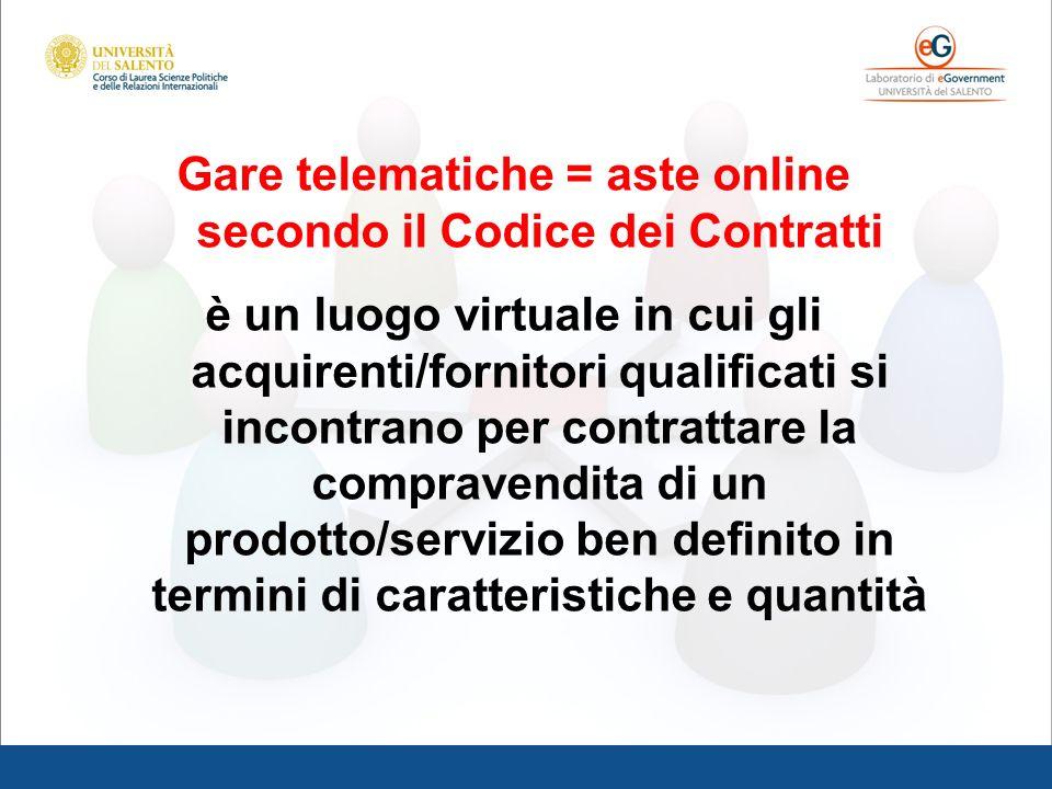 Gare telematiche = aste online secondo il Codice dei Contratti è un luogo virtuale in cui gli acquirenti/fornitori qualificati si incontrano per contr