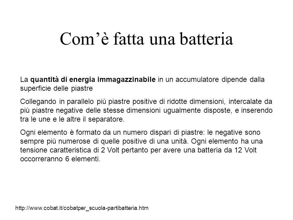 Comè fatta una batteria La quantità di energia immagazzinabile in un accumulatore dipende dalla superficie delle piastre Collegando in parallelo più p