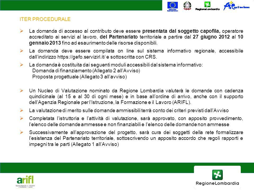 ITER PROCEDURALE La domanda di accesso al contributo deve essere presentata dal soggetto capofila, operatore accreditato ai servizi al lavoro, del Partenariato territoriale a partire dal 27 giugno 2012 al 10 gennaio 2013 fino ad esaurimento delle risorse disponibili.