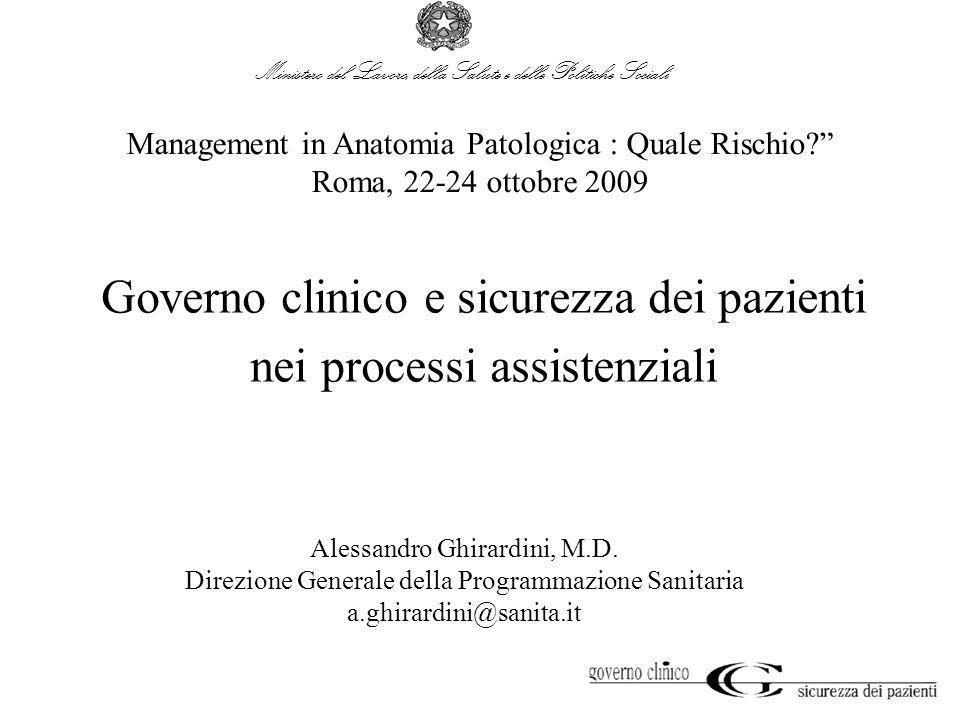 Governo clinico e sicurezza dei pazienti nei processi assistenziali Management in Anatomia Patologica : Quale Rischio? Roma, 22-24 ottobre 2009 Alessa