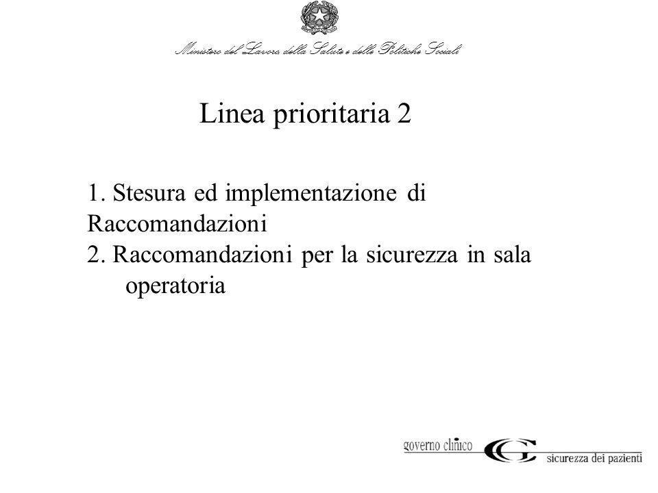 Ministero del Lavoro, della Salute e delle Politiche Sociali Linea prioritaria 2 1. Stesura ed implementazione di Raccomandazioni 2. Raccomandazioni p