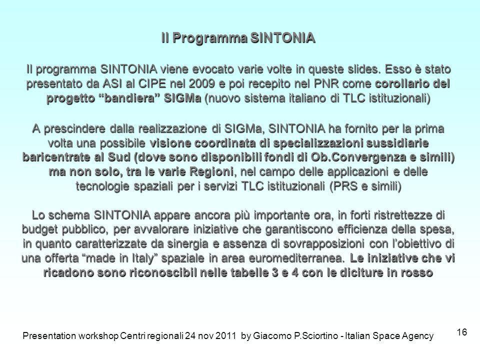 Presentation workshop Centri regionali 24 nov 2011 by Giacomo P.Sciortino - Italian Space Agency 16 Il Programma SINTONIA Il programma SINTONIA viene