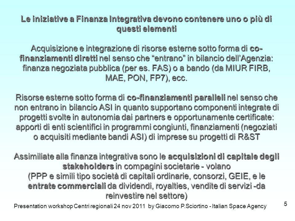 Presentation workshop Centri regionali 24 nov 2011 by Giacomo P.Sciortino - Italian Space Agency 5 Le iniziative a Finanza Integrativa devono contener