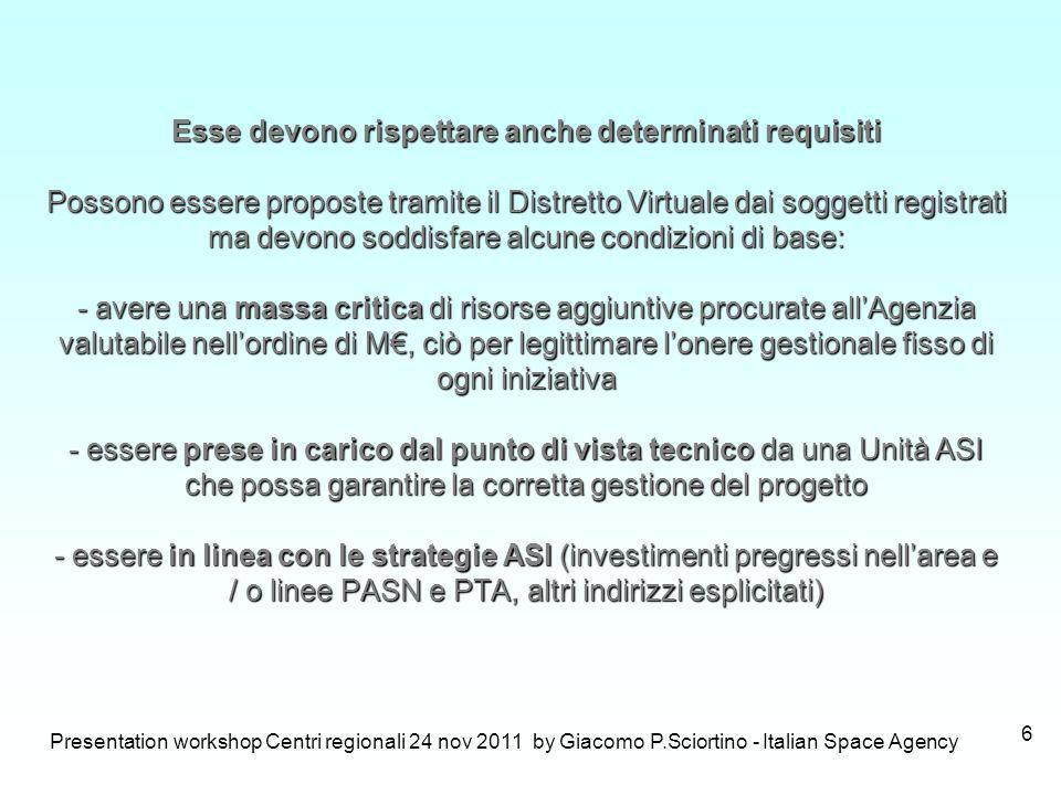 Presentation workshop Centri regionali 24 nov 2011 by Giacomo P.Sciortino - Italian Space Agency 6 Esse devono rispettare anche determinati requisiti