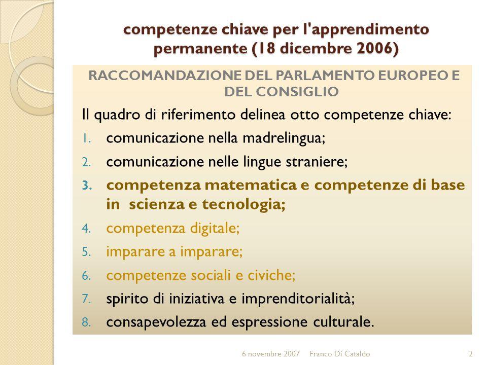 competenze chiave per l'apprendimento permanente (18 dicembre 2006) RACCOMANDAZIONE DEL PARLAMENTO EUROPEO E DEL CONSIGLIO Il quadro di riferimento de