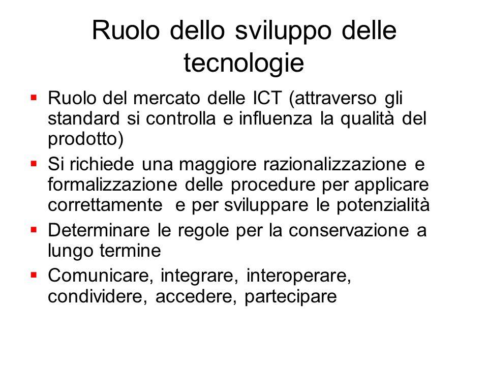 Ruolo dello sviluppo delle tecnologie Ruolo del mercato delle ICT (attraverso gli standard si controlla e influenza la qualità del prodotto) Si richie