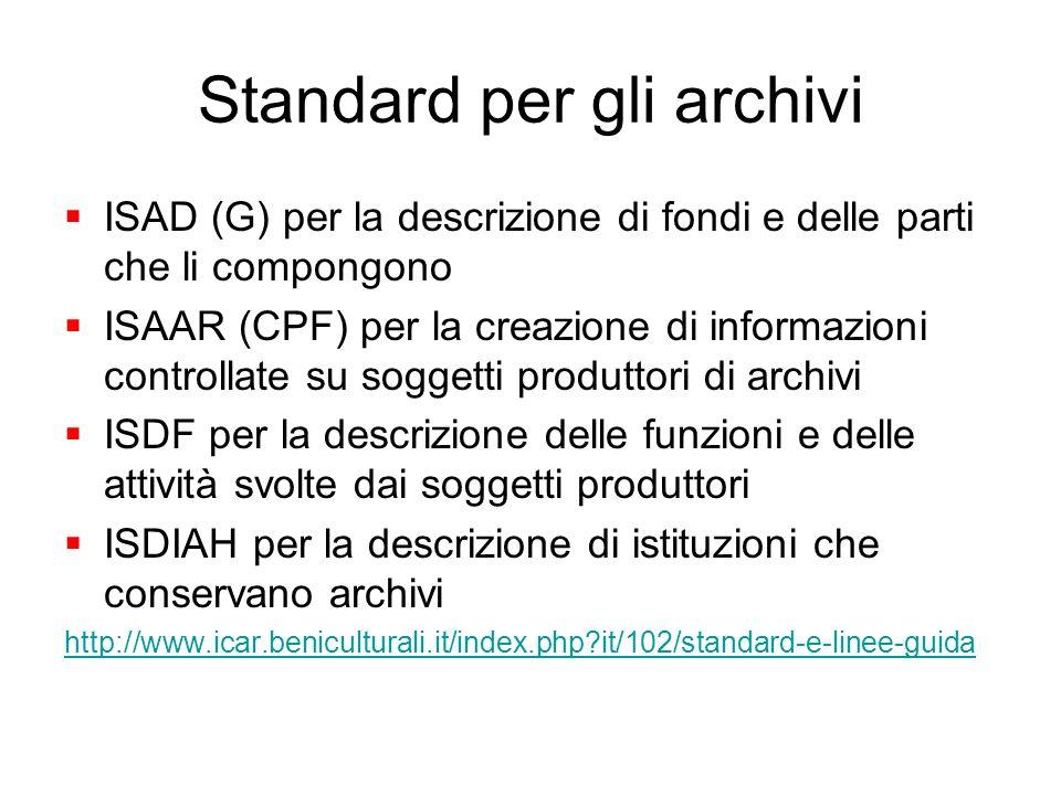 Standard per gli archivi ISAD (G) per la descrizione di fondi e delle parti che li compongono ISAAR (CPF) per la creazione di informazioni controllate