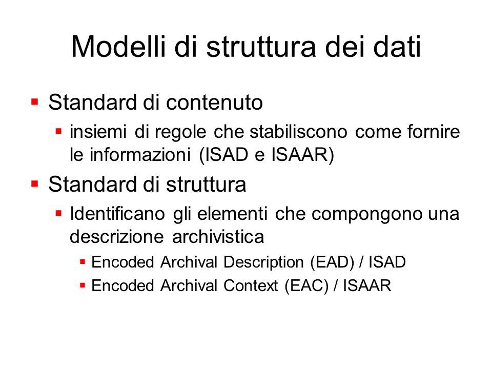 Modelli di struttura dei dati Standard di contenuto insiemi di regole che stabiliscono come fornire le informazioni (ISAD e ISAAR) Standard di struttu