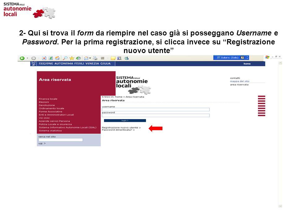 2- Qui si trova il form da riempire nel caso già si posseggano Username e Password. Per la prima registrazione, si clicca invece su Registrazione nuov