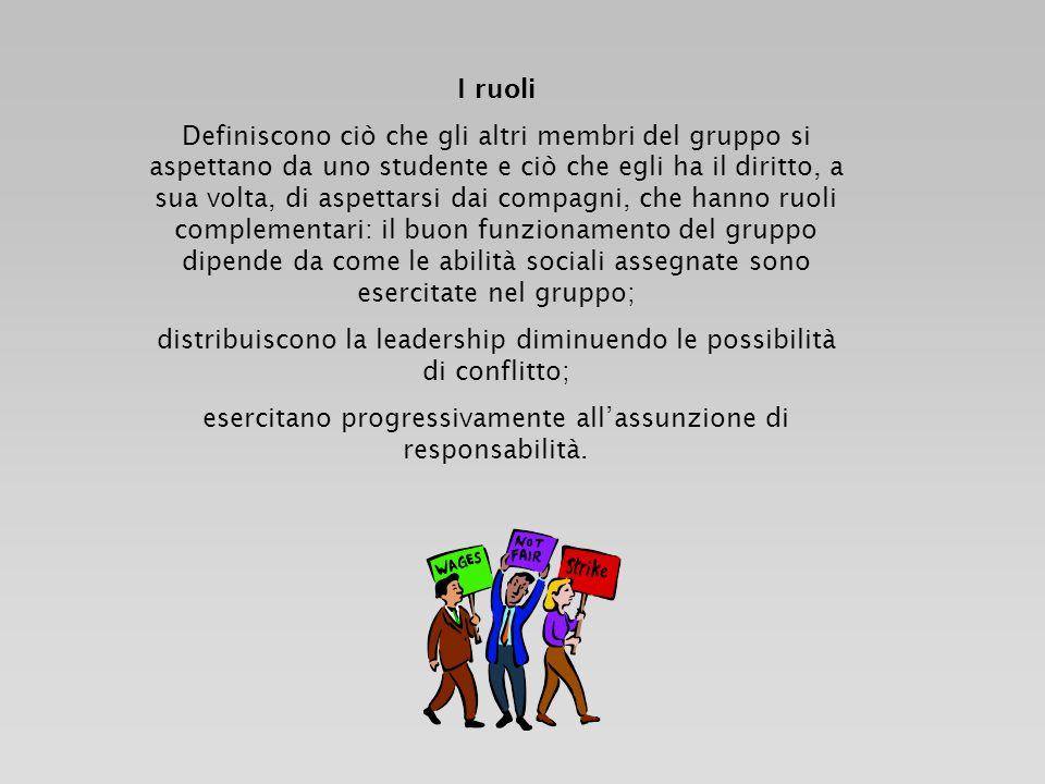 I ruoli Definiscono ciò che gli altri membri del gruppo si aspettano da uno studente e ciò che egli ha il diritto, a sua volta, di aspettarsi dai comp