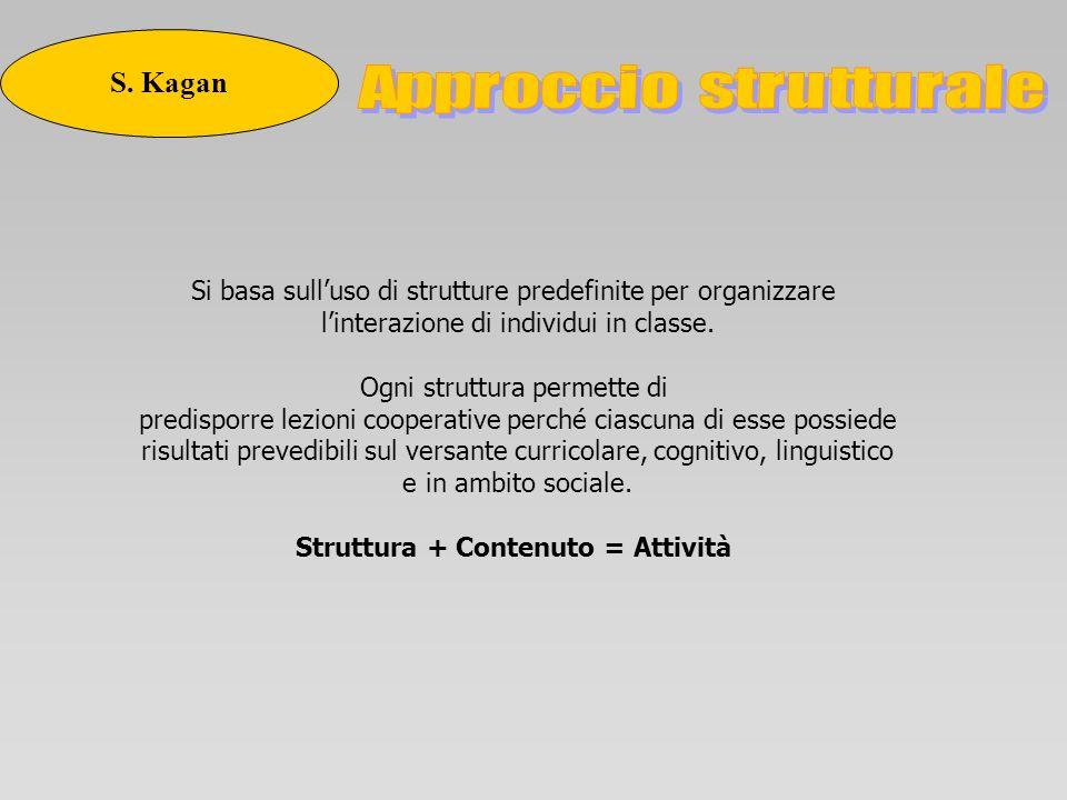 Si basa sulluso di strutture predefinite per organizzare linterazione di individui in classe. Ogni struttura permette di predisporre lezioni cooperati