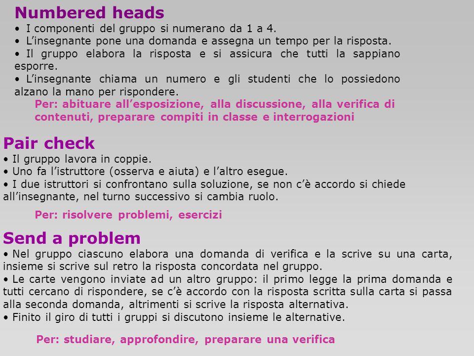 Numbered heads I componenti del gruppo si numerano da 1 a 4. Linsegnante pone una domanda e assegna un tempo per la risposta. Il gruppo elabora la ris