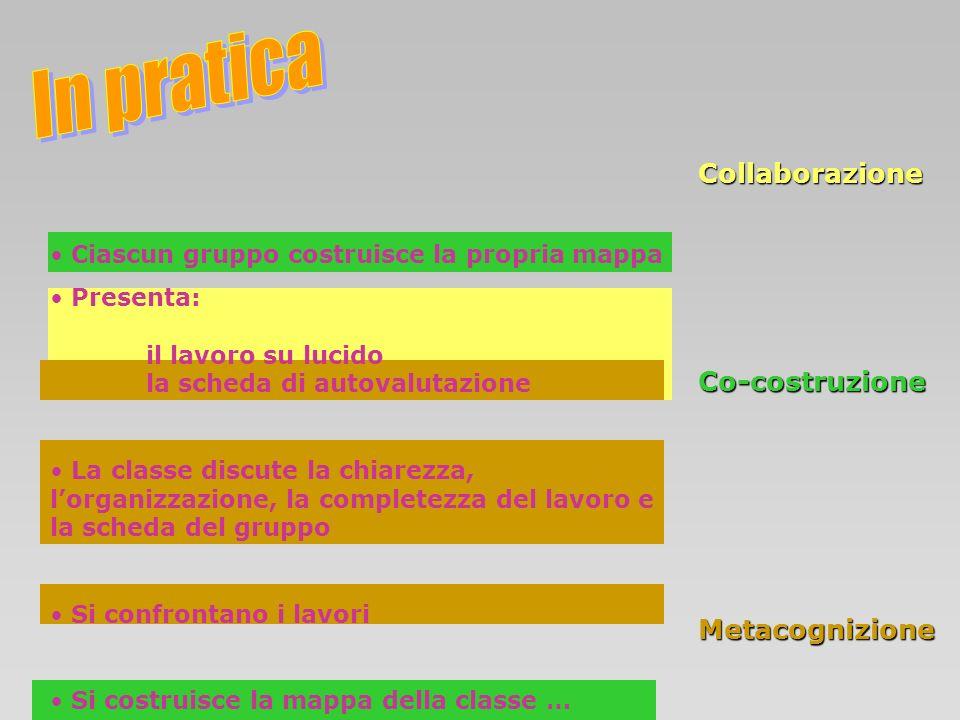 Collaborazione Co-costruzione Metacognizione Ciascun gruppo costruisce la propria mappa Presenta: il lavoro su lucido la scheda di autovalutazione La