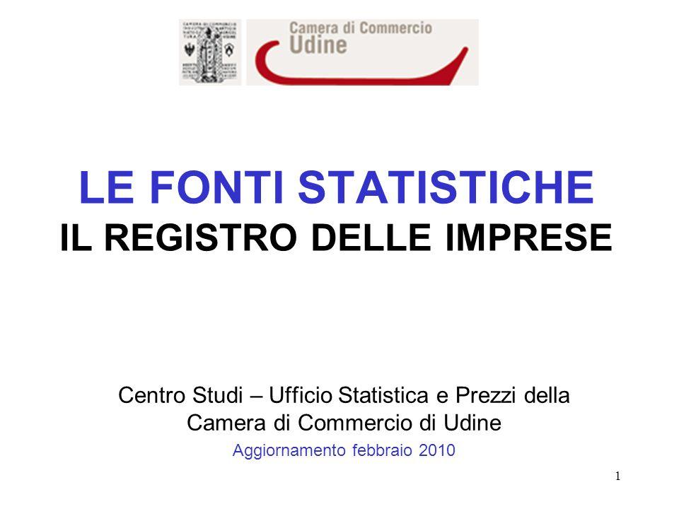 1 LE FONTI STATISTICHE IL REGISTRO DELLE IMPRESE Centro Studi – Ufficio Statistica e Prezzi della Camera di Commercio di Udine Aggiornamento febbraio 2010