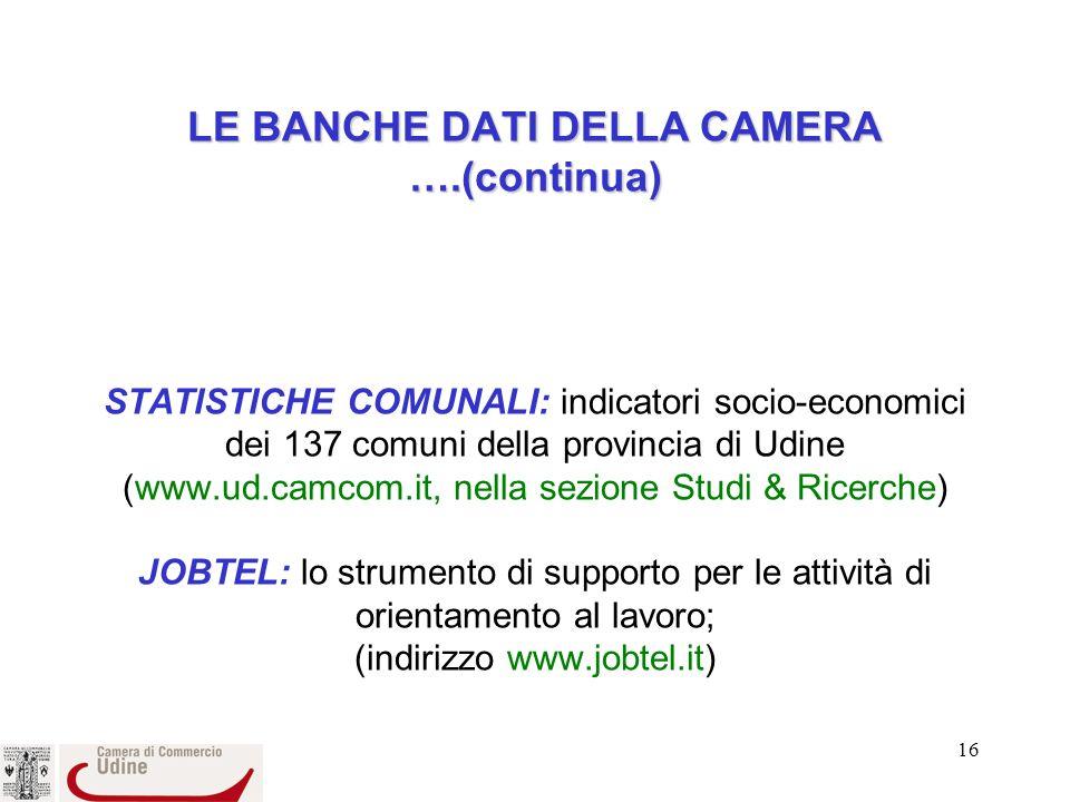 16 LE BANCHE DATI DELLA CAMERA ….(continua) LE BANCHE DATI DELLA CAMERA ….(continua) STATISTICHE COMUNALI: indicatori socio-economici dei 137 comuni della provincia di Udine (www.ud.camcom.it, nella sezione Studi & Ricerche) JOBTEL: lo strumento di supporto per le attività di orientamento al lavoro; (indirizzo www.jobtel.it)