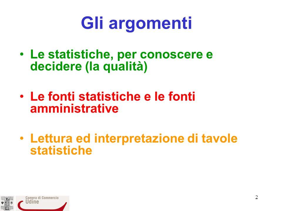 2 Gli argomenti Le statistiche, per conoscere e decidere (la qualità) Le fonti statistiche e le fonti amministrative Lettura ed interpretazione di tavole statistiche