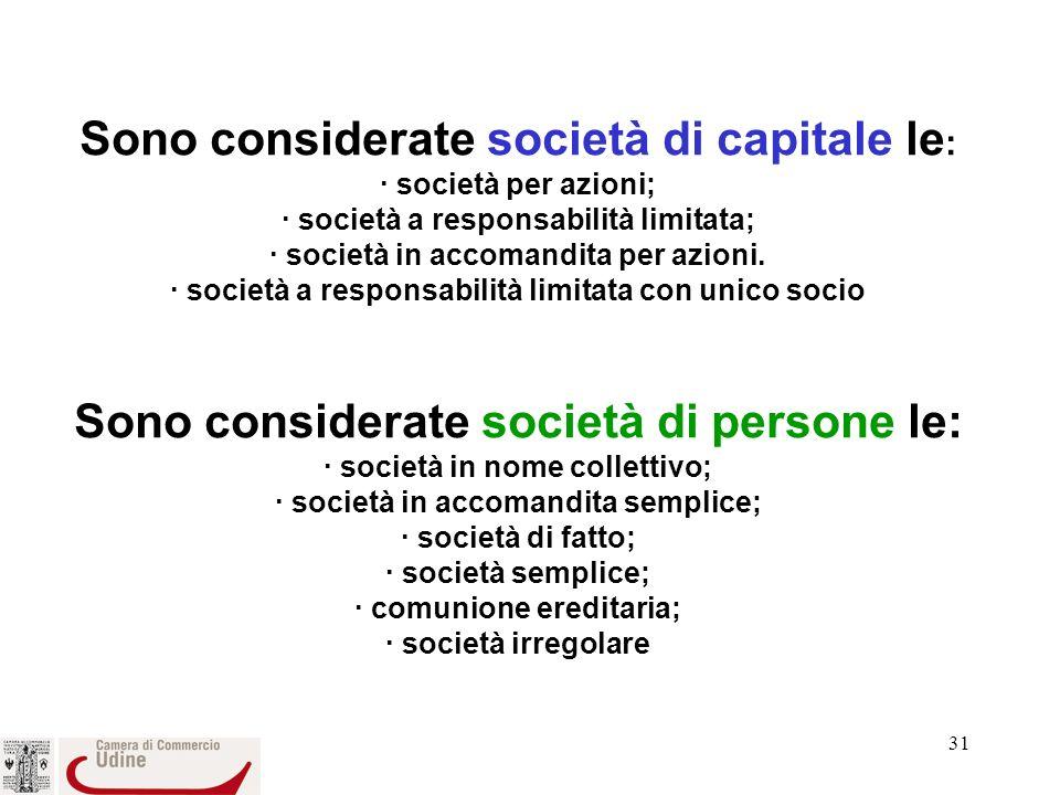 31 Sono considerate società di capitale le : · società per azioni; · società a responsabilità limitata; · società in accomandita per azioni.