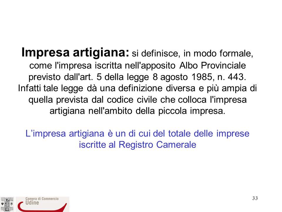 33 Impresa artigiana: si definisce, in modo formale, come l impresa iscritta nell apposito Albo Provinciale previsto dall art.