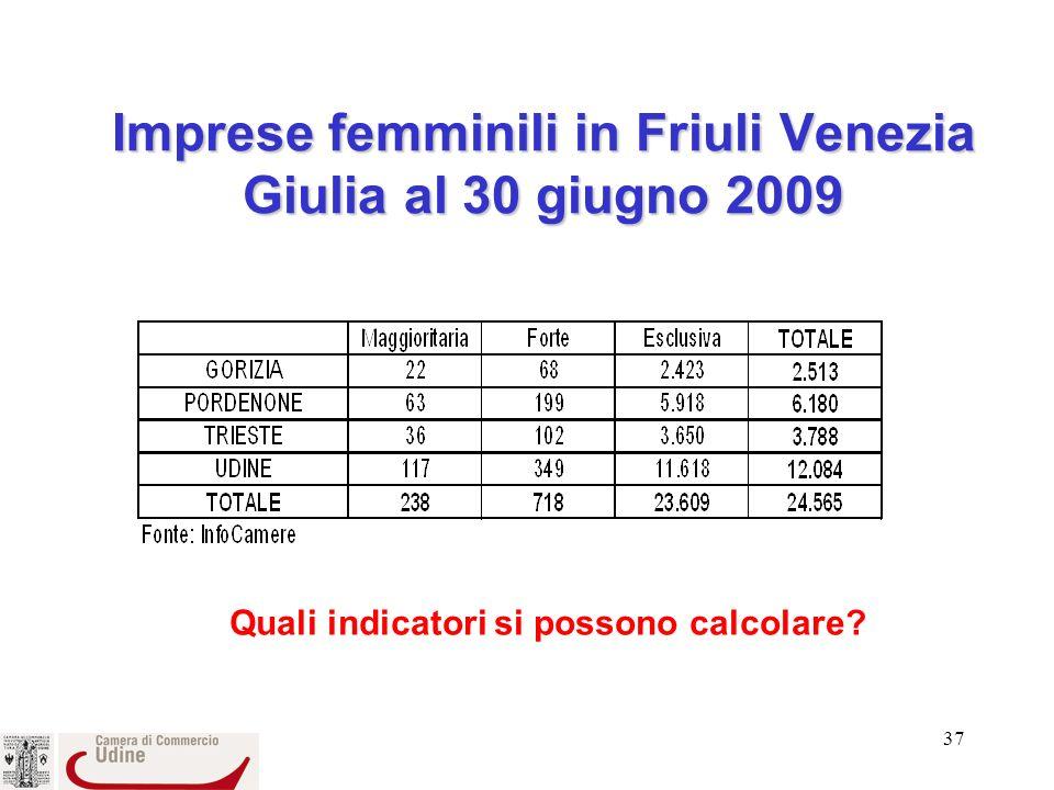 37 Imprese femminili in Friuli Venezia Giulia al 30 giugno 2009 Quali indicatori si possono calcolare?