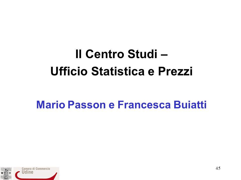 45 Il Centro Studi – Ufficio Statistica e Prezzi Mario Passon e Francesca Buiatti