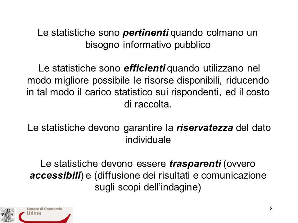 8 Le statistiche sono pertinenti quando colmano un bisogno informativo pubblico Le statistiche sono efficienti quando utilizzano nel modo migliore possibile le risorse disponibili, riducendo in tal modo il carico statistico sui rispondenti, ed il costo di raccolta.