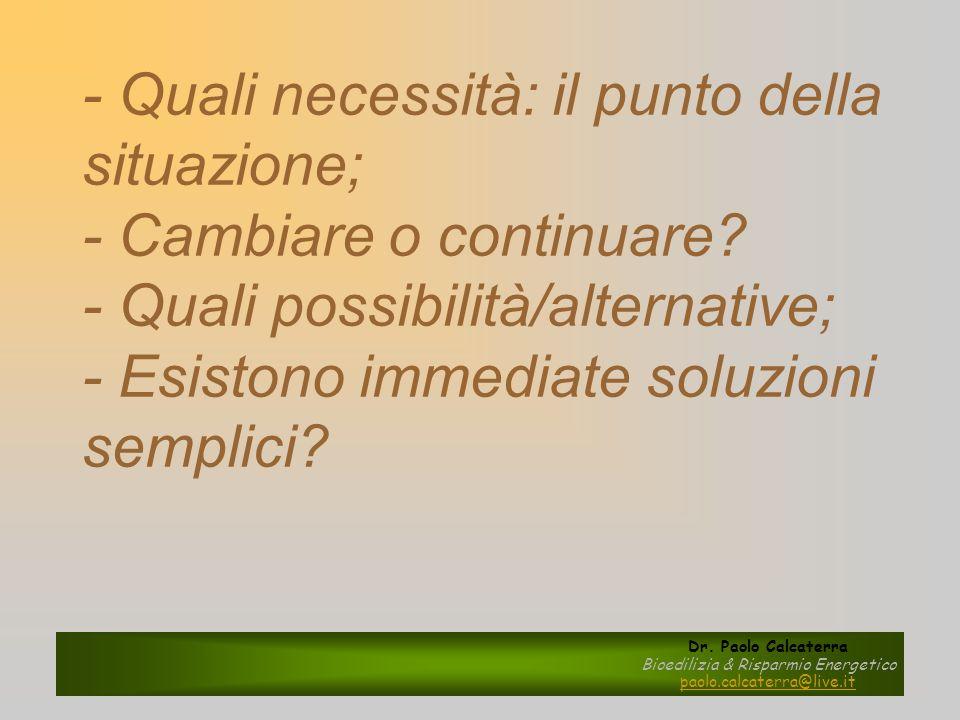 - Quali necessità: il punto della situazione; - Cambiare o continuare? - Quali possibilità/alternative; - Esistono immediate soluzioni semplici? Dr. P