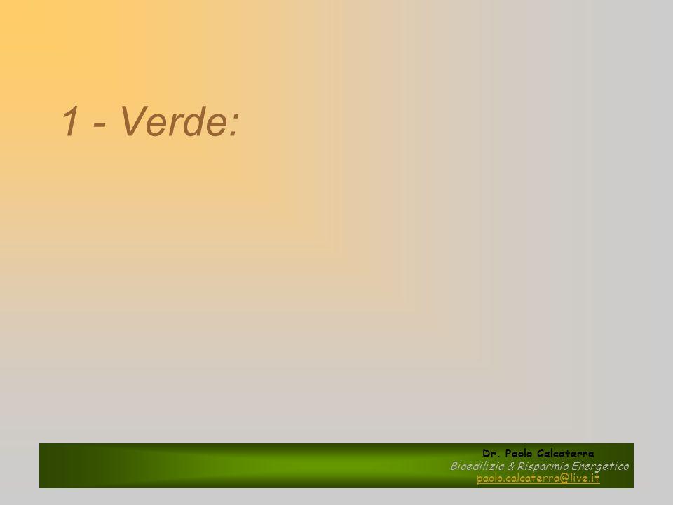 1 - Verde: Dr. Paolo Calcaterra Bioedilizia & Risparmio Energetico paolo.calcaterra@live.it
