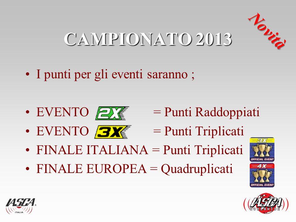 CAMPIONATO 2013 I punti per gli eventi saranno ; EVENTO = Punti Raddoppiati EVENTO = Punti Triplicati FINALE ITALIANA = Punti Triplicati FINALE EUROPE