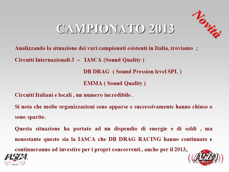 CAMPIONATO 2013 Analizzando la situazione dei vari campionati esistenti in Italia, troviamo ; Circuiti Internazionali 3 – IASCA (Sound Quality ) DB DR