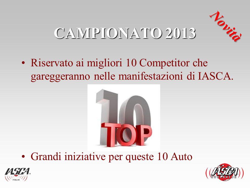 CAMPIONATO 2013 Riservato ai migliori 10 Competitor che gareggeranno nelle manifestazioni di IASCA. Grandi iniziative per queste 10 Auto Novità