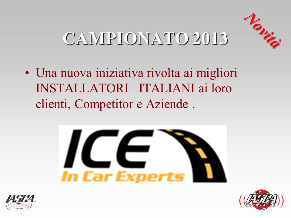 CAMPIONATO 2013 Una nuova iniziativa rivolta ai migliori INSTALLATORI ITALIANI ai loro clienti, Competitor e Aziende. Novità