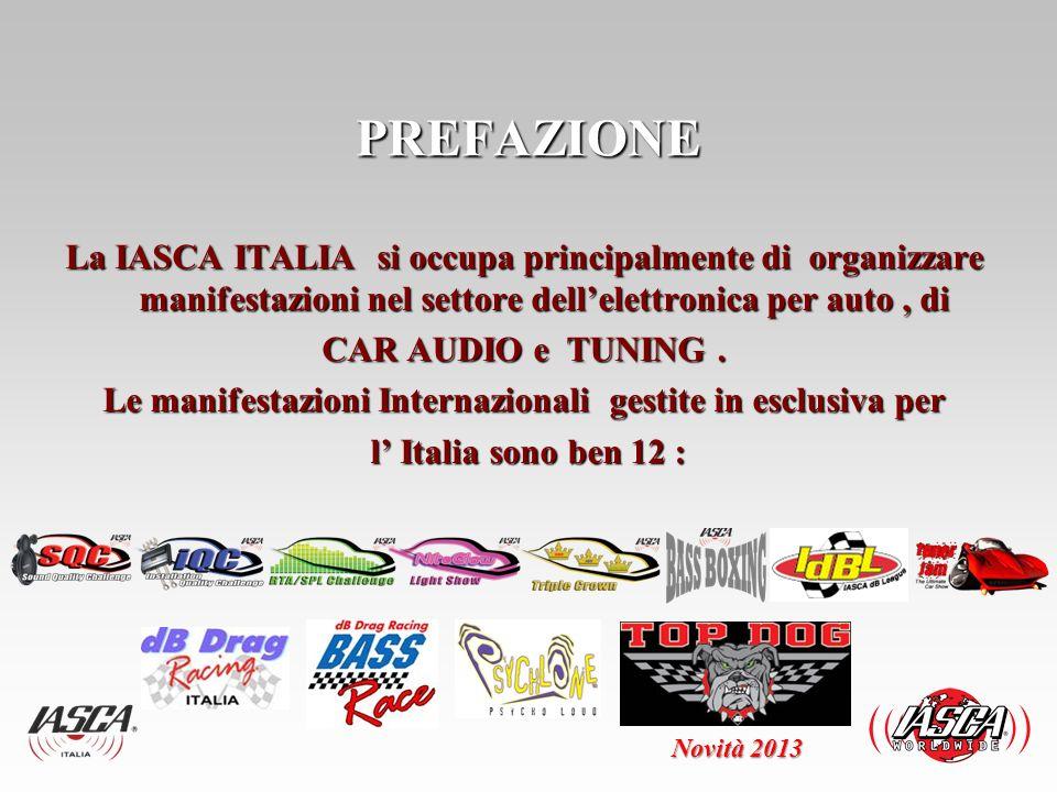 Alcuni dati storici delle competizioni organizzate : IASCA Sound Quality dal 1993 al 2012 n° 285 IASCA JDBL – dal 2006 al 2012 n° 26 IASCA TUNER JAM – dal 2009 al 2012 n° 78 IASCA NEON GLOOFF dal 2007 al 2012 n° 21 DB DRAG RACING dal 2002 al 2012 n° 432 BASS RACE dal 2006 al 2011 n° 192 IASCA - FINALE EUROPEA e EURASIANn° 4 DB DRAG RACING FINALI MONDIALI n° 3 --------------- N° 1.041 Nessun altro organizzatore ha uno STORICO così importante COMPETIZIONI Novità