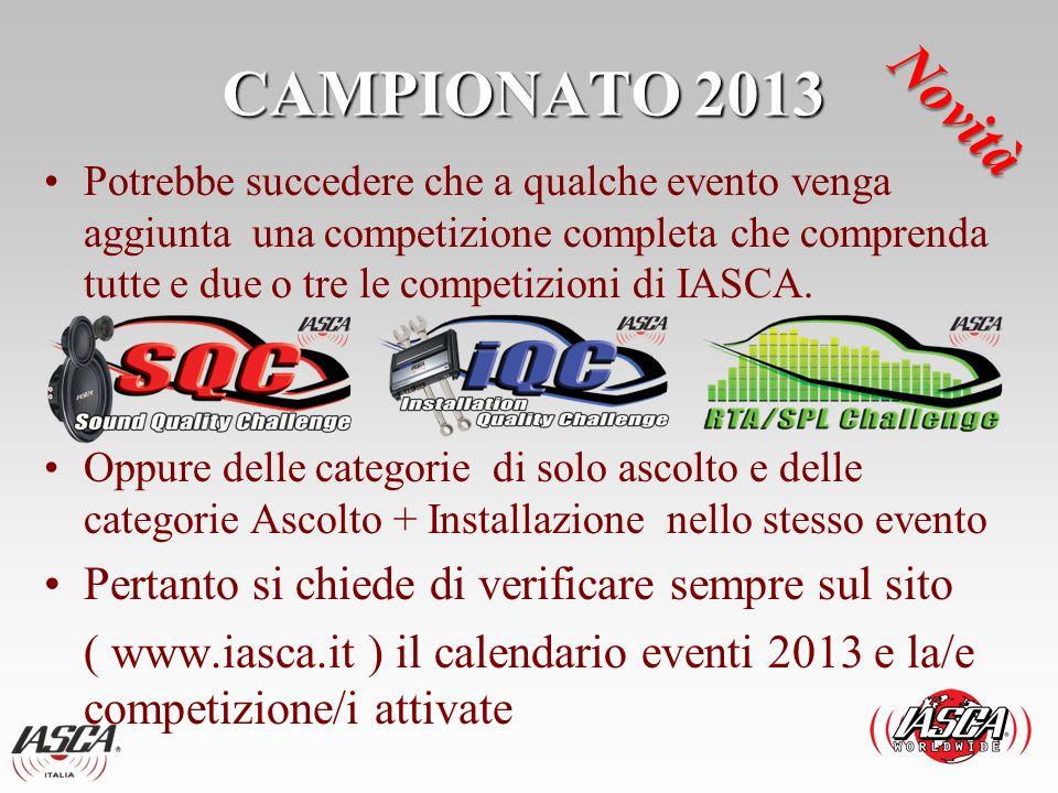 CAMPIONATO 2013 Ogni categoria per essere attivata dovrà avere almeno 5 Competitor.