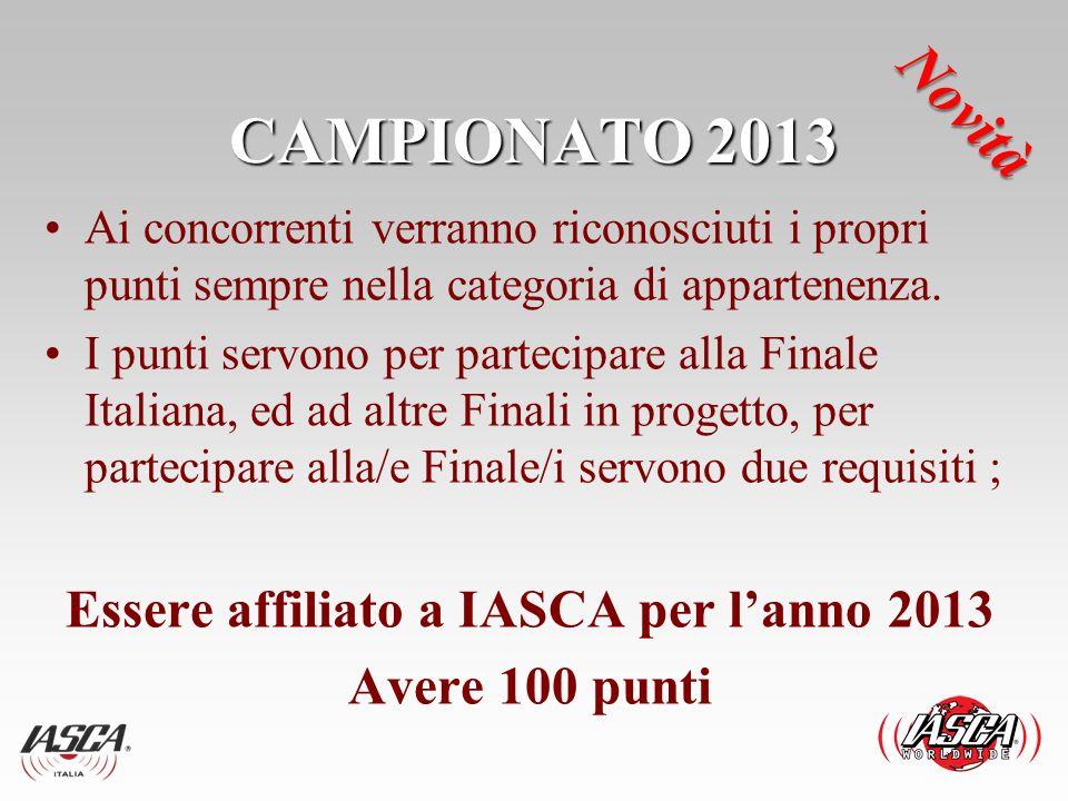 CAMPIONATO 2013 Ai concorrenti verranno riconosciuti i propri punti sempre nella categoria di appartenenza. I punti servono per partecipare alla Final