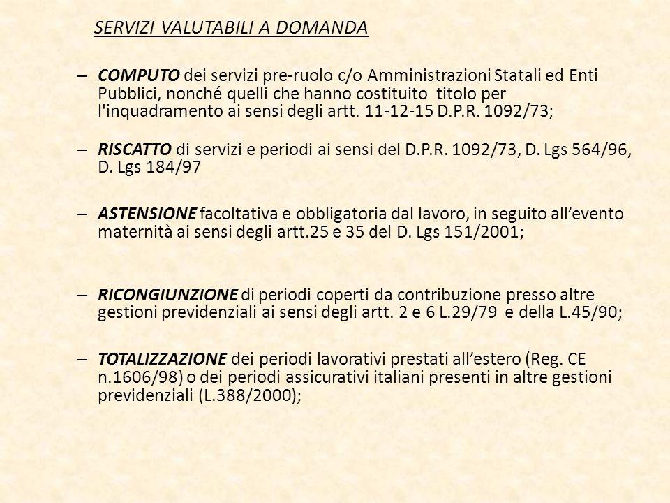 SERVIZI VALUTABILI A DOMANDA – COMPUTO dei servizi pre-ruolo c/o Amministrazioni Statali ed Enti Pubblici, nonché quelli che hanno costituito titolo p