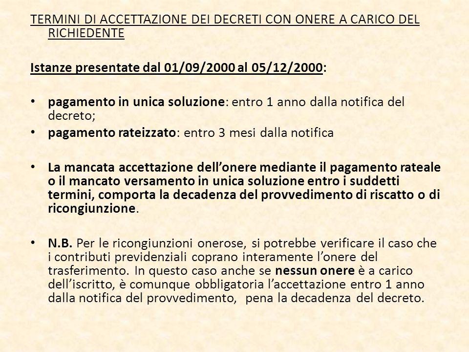 TERMINI DI ACCETTAZIONE DEI DECRETI CON ONERE A CARICO DEL RICHIEDENTE Istanze presentate dal 01/09/2000 al 05/12/2000: pagamento in unica soluzione: