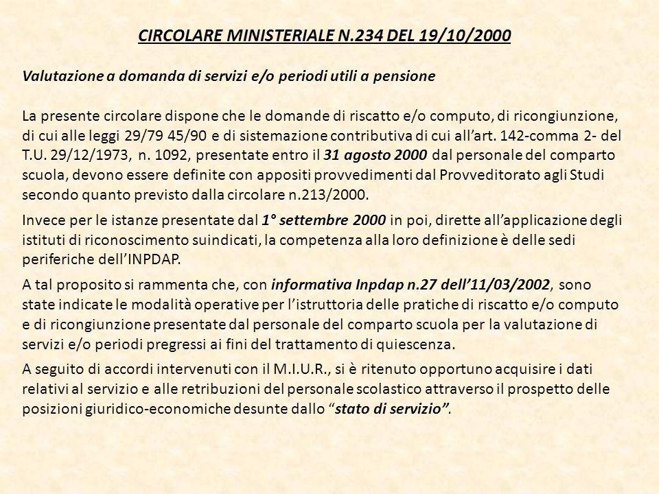 CIRCOLARE MINISTERIALE N.234 DEL 19/10/2000 Valutazione a domanda di servizi e/o periodi utili a pensione La presente circolare dispone che le domande