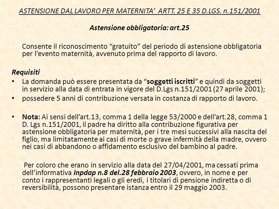 ASTENSIONE DAL LAVORO PER MATERNITA ARTT. 25 E 35 D.LGS. n.151/2001 Astensione obbligatoria: art.25 Consente il riconoscimento gratuito del periodo di