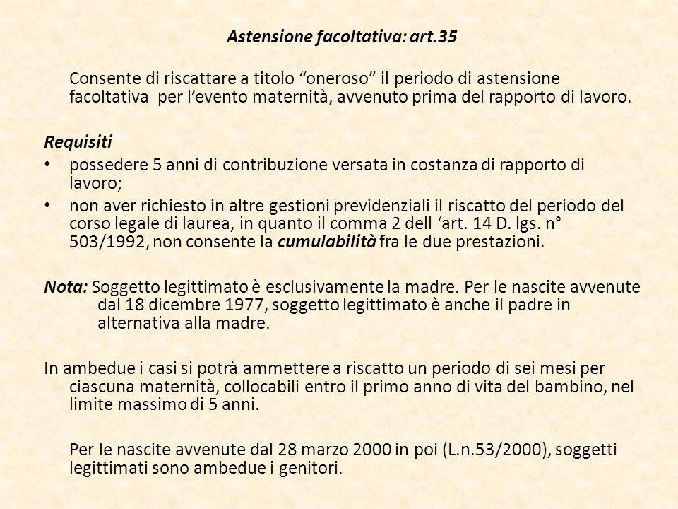 Astensione facoltativa: art.35 Consente di riscattare a titolo oneroso il periodo di astensione facoltativa per levento maternità, avvenuto prima del