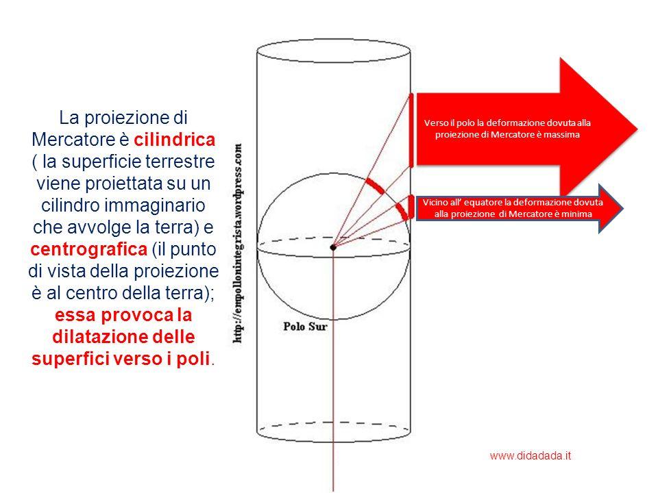 La proiezione di Mercatore è cilindrica ( la superficie terrestre viene proiettata su un cilindro immaginario che avvolge la terra) e centrografica (i