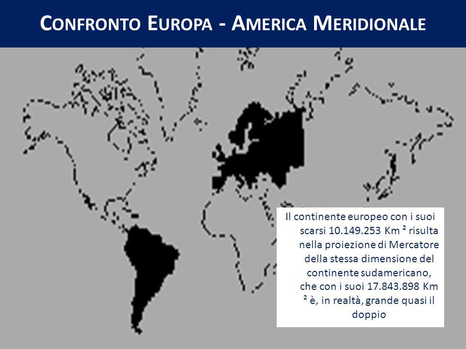 Il continente europeo con i suoi scarsi 10.149.253 Km ² risulta nella proiezione di Mercatore della stessa dimensione del continente sudamericano, che