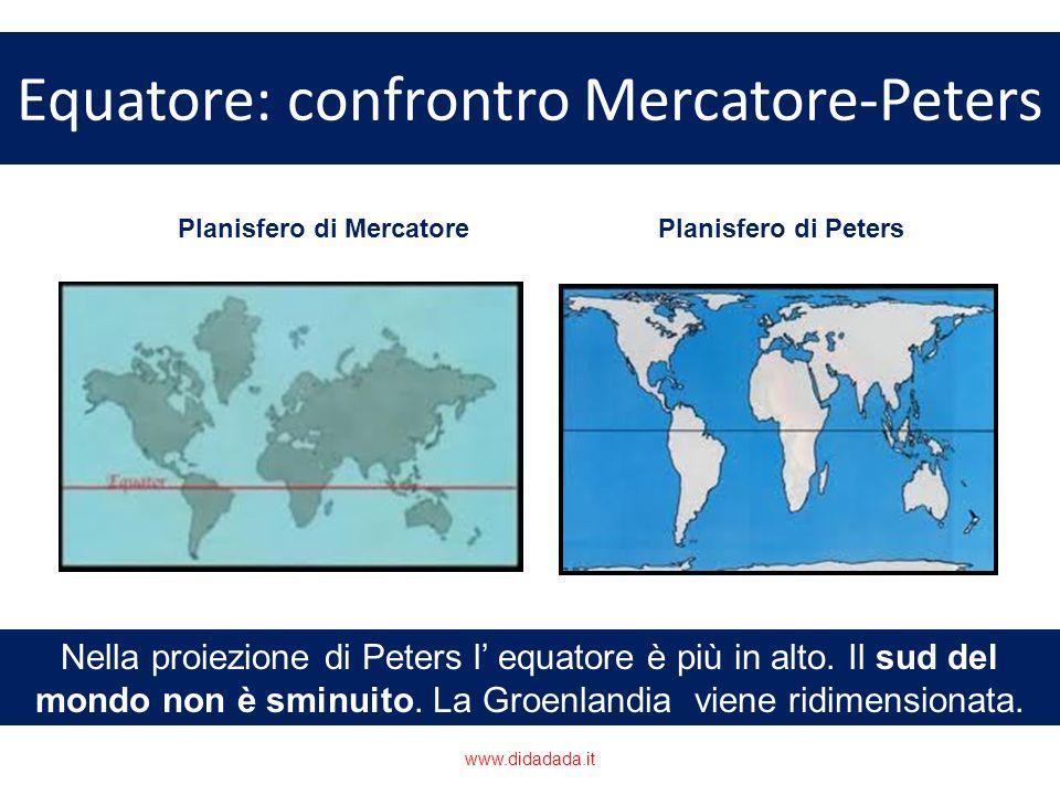 Equatore: confrontro Mercatore-Peters Nella proiezione di Peters l equatore è più in alto. Il sud del mondo non è sminuito. La Groenlandia viene ridim