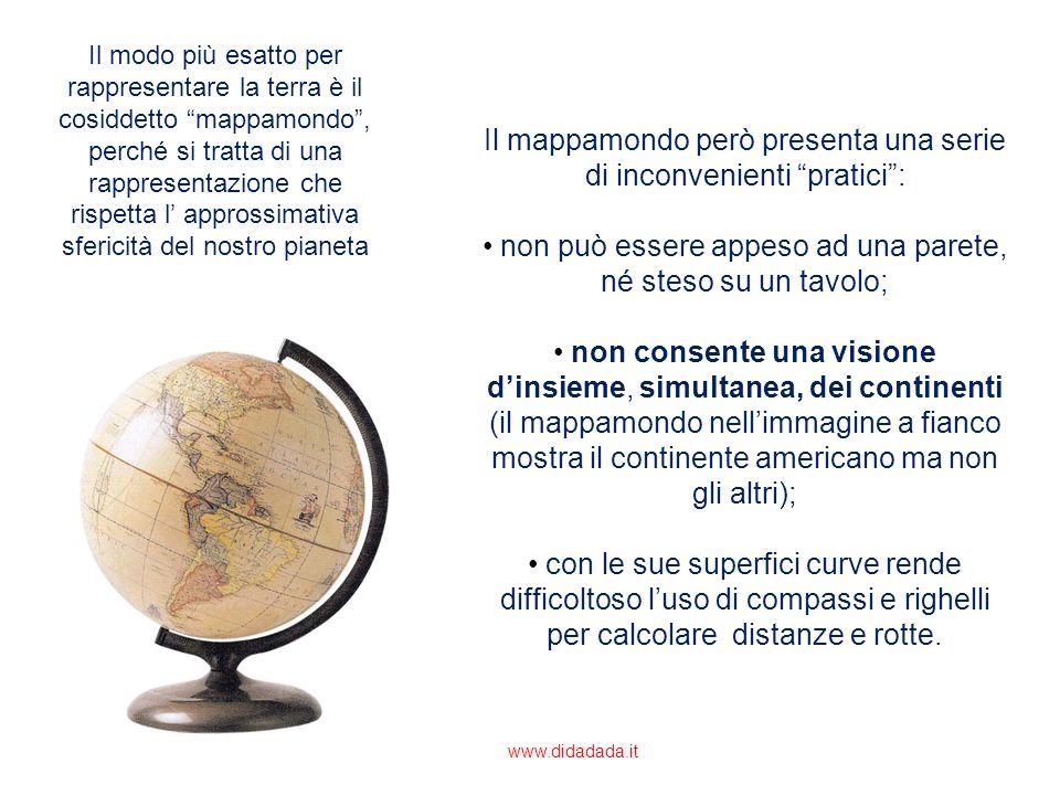 Il modo più esatto per rappresentare la terra è il cosiddetto mappamondo, perché si tratta di una rappresentazione che rispetta l approssimativa sferi