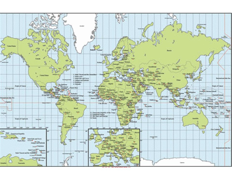 Le rappresentazioni della terra più usate sono dunque non i mappamondi ma i planisferi: nel planisfero le superfici sferiche vengono proiettate su un