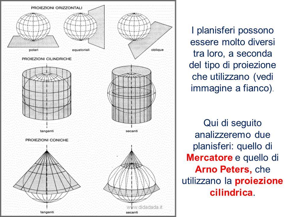I planisferi possono essere molto diversi tra loro, a seconda del tipo di proiezione che utilizzano (vedi immagine a fianco). Qui di seguito analizzer