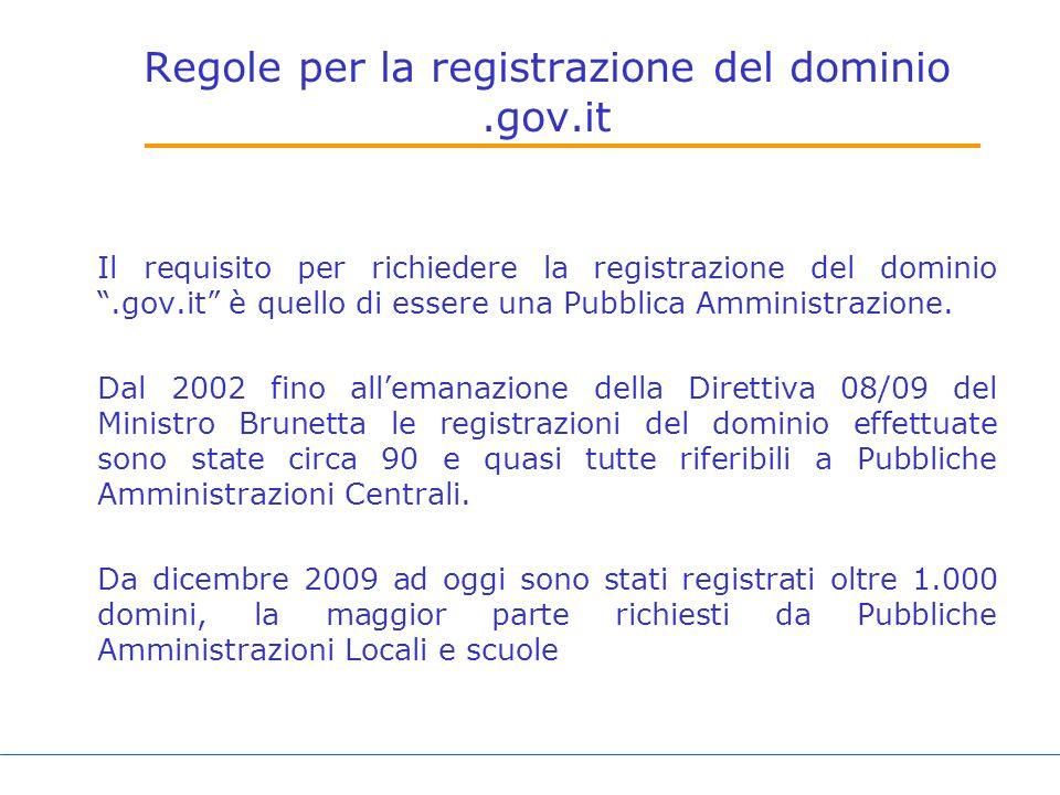Regole per la registrazione del dominio.gov.it Il requisito per richiedere la registrazione del dominio.gov.it è quello di essere una Pubblica Amministrazione.