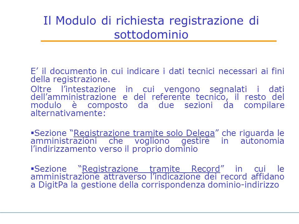 Il Modulo di richiesta registrazione di sottodominio E il documento in cui indicare i dati tecnici necessari ai fini della registrazione.