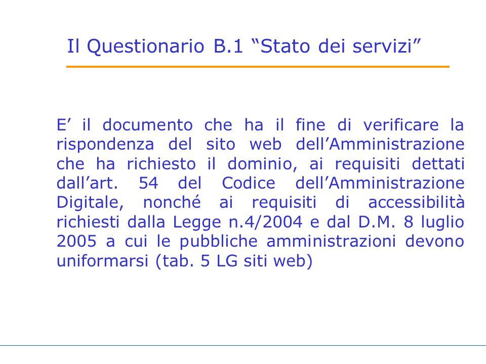 Il Questionario B.1 Stato dei servizi E il documento che ha il fine di verificare la rispondenza del sito web dellAmministrazione che ha richiesto il dominio, ai requisiti dettati dallart.