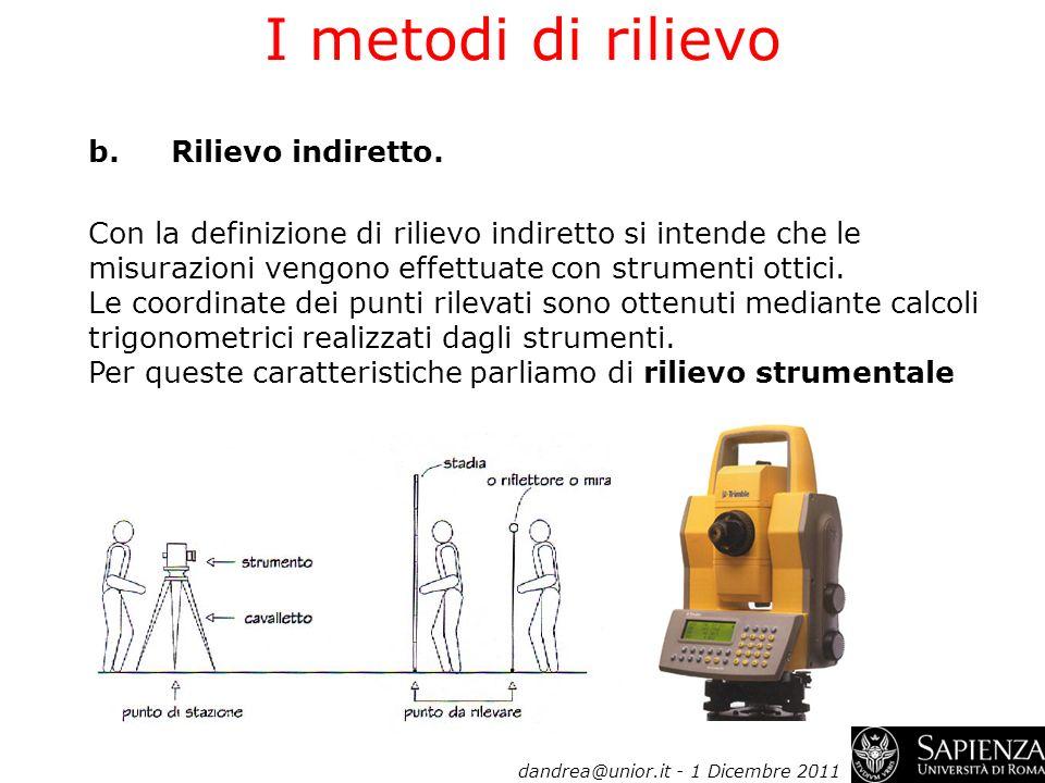 I metodi di rilievo b.Rilievo indiretto. Con la definizione di rilievo indiretto si intende che le misurazioni vengono effettuate con strumenti ottici